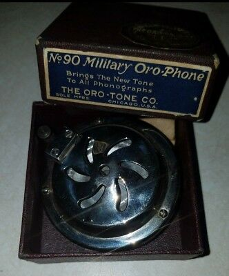Oro-Tone  Oro-Phone Military Phonograph Reproducer in Box Nickel Plated