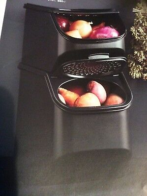 Tupperware Black Potato Mate And Onion Mate Set Containers Brand New