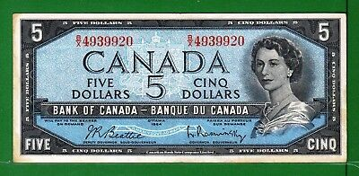 Canada - 1954 Bank of Canada 5 Dollars note P77b/BC-39b VF++ Condition QEll