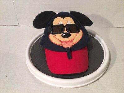 Mickey Mouse Sunglasses Hat Walt Disney Parks Baseball Cap With Ears Toddler Sz