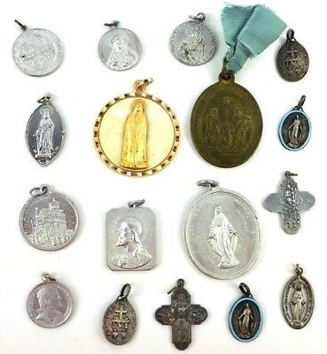 Antique Vintage Catholic Religious Charms Medals Medallions Lot of 17