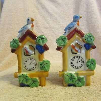 "Set Of 2 Small Vintage Hand Painted Lusterware Wall Pockets ""cuckoo Clock"""