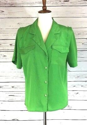 Laura & Jayne Collection Womens Green Button down Short Sleeve Top Shirt Size 6