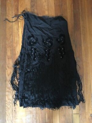 1920s Flapper Dress Fabric with Embroidery, Fringe And Rhinestones Damaged Reuse