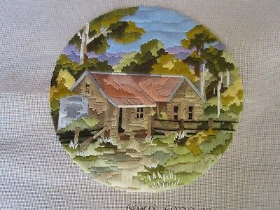 Semco Completed Long Stitch  Of A Loggers Cottage 28 Cms Round