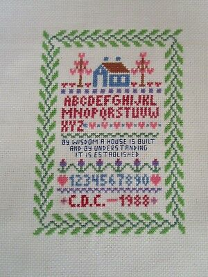 Completed Cross Stitch Sampler Of A House Flowers & Alphabet Sew Area 12.5X18Cms