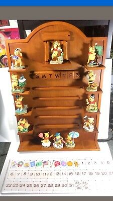 Winnie The Pooh Perpetual Calendar Danbury Mint Wood Display Figurines Complete