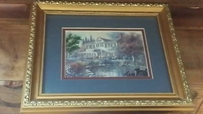 Thomas Kinkade Lamplight grandmas Paper Double Matted Framed art deco signed