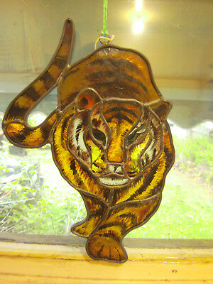 Hand Made Stained Glass Tiger Window Hanging Sun Catcher