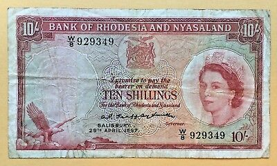 RHODESIA AND NYASLAND 10 SHILLINGS P20a 1957 - SCARCE NOTE