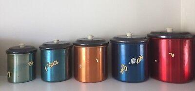 Vintage retro harlequin Waratah anodised kitchen canisters