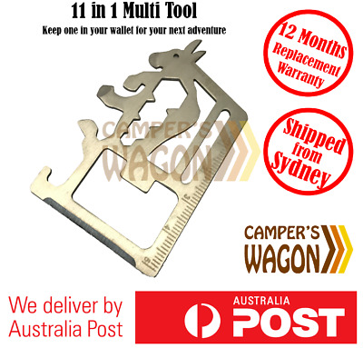 Survival Knife Multi Tool 11 in 1 Card Camping Pocket Stainless Steel Outdoor
