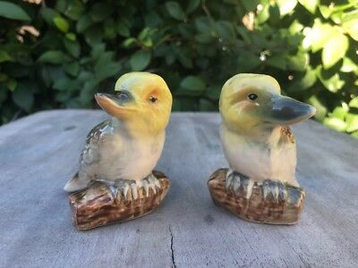 Pair Australian Kookaburras ceramic or pottery salt and pepper shakers Japan