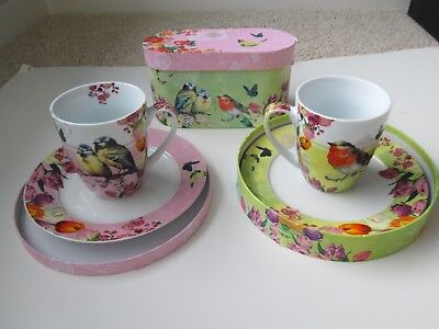 PPD VIntage Mug and Matching Plate Set in Gift Boxes - 2 plates and 2 mugs