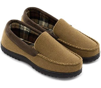 Mens Comfy & Warm Wool Micro Suede Plush Fleece Moccasin House Slippers Size 10