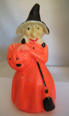 "Large Gurley Witch With Jack O Lantern Candle 7.5"" Tall Early's 60's Halloween"