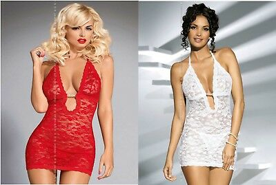 Babydoll Chemise Pizzo Rosso o Bianco Sexy Lingerie Intimo Donna Obsessive