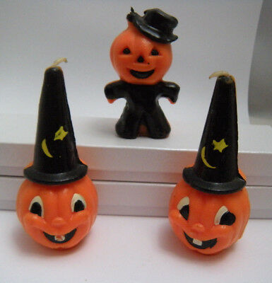 "Three Vintage Halloween Gurley Jack O Lantern Candles .. Early's 60's   3"" to 4"""