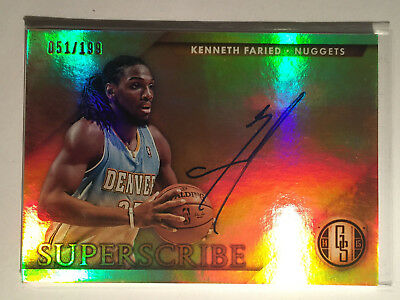 Kenneth Faried 2014-15 Gold Standard Superscribe Auto #2 Denver Nuggets 051/199