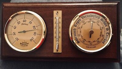 Wand-Barometer Goldtime Automatische Eichung Holz Messing