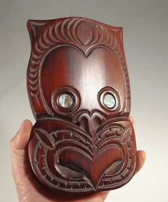 Vintage Maori Carved Weku Mask From New Zealand