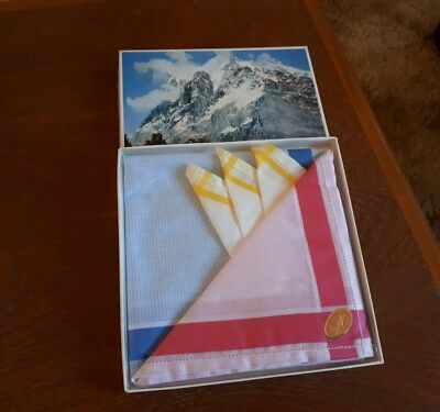 Vintage Boxed Ladies Handkerchiefs 100% Cotton Made In Japan
