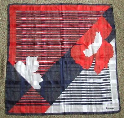 Lovely Quality Vintage JACQMAR Silk Scarf Abstract Red White Blue 76 cm x 76 cm