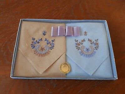 Vintage Ladies Boxed Swiss 100% Cotton Handkerchiefs