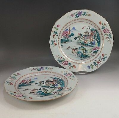 A beautiful pair of Chinese 18C famille rose landscape plate-Yongzheng