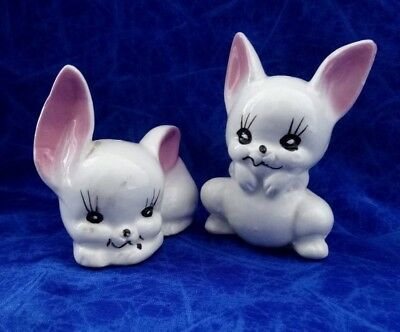 Vintage Salt And Pepper Shakers Two White Bunnies With Pink Ears.