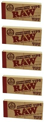 RAW PERFORATED NATURAL UNREFINED WIDE TIPS SMOKING CIGARETTE ROLLING PAPER 5pks