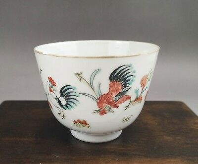 """A fine Chinese 19C famille rose """"rooster"""" hoof cup-Tongzhi mark&period"""