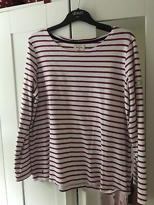 Joules Striped Harbour Top Size 18 - Pink/white