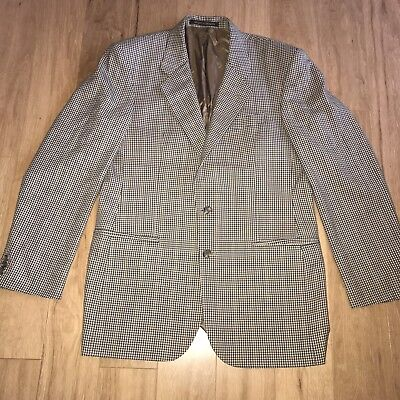 "Vtg M&S Brown Check Shooting Hunting Country Wool Jacket 40"" Chest Long Tall"