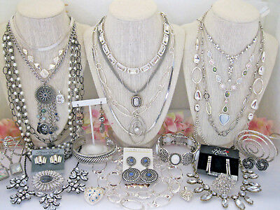 Huge Vintage Modern Silver Tone Jewelry Lot Rhinestone + Signed/unsign Sterling