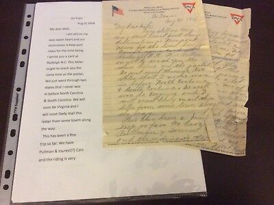 WW1 letter, on train to Hoboken NY, gov. Issued two toothbrushes, Transcription