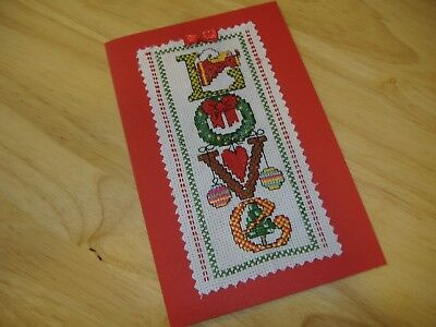 """Christmas card completed cross stitch, 18cm x12cm """"LOVE"""""""