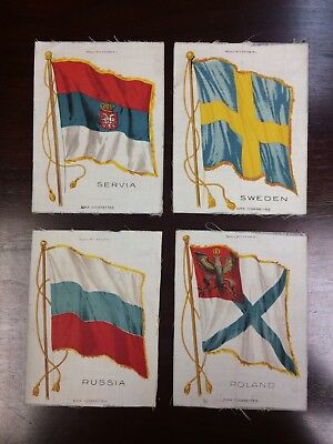 Lot 58: 1910s S32 Nebo National Flags group of 4 silk tobacco (large)