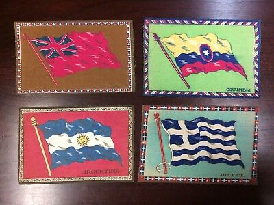 Lot 55: 1910s B? Tobacco Felt Blanket Flags -- Group of 4 -- large 5 1/2 x 8