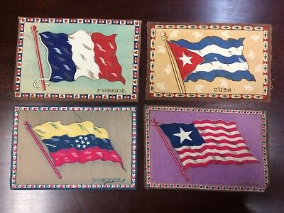 Lot 56: 1910s B? Tobacco Felt Blanket Flags -- Group of 4 -- large 5 1/2 x 8