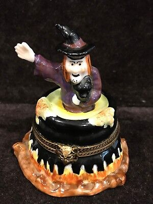 French Limoges Rouchard Trinket Box - Halloween Witch with Brewing Cauldron