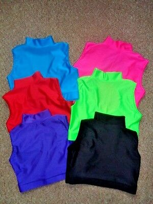 Lycra Turtle Neck Crop Tops Dance Gymnastics Freestyle 4yrs -14yrs 12  colours
