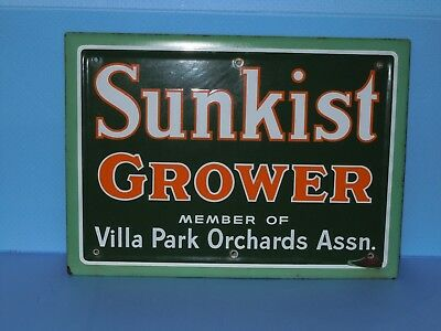 VINTAGE SUNKIST GROWER PORCELAIN METAL SIGN 19 1/2 x 14 California