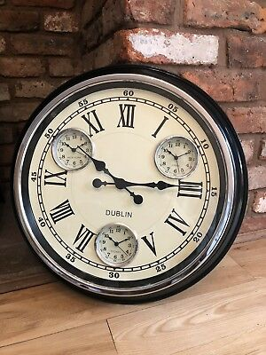 Large Black Vintage 1950's Style Multi Dial City Clock With White Face.