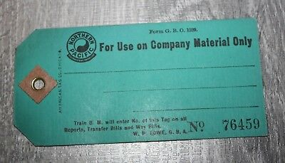 """RARE VINTAGE NORTHERN PACIFIC Yellowstone Parkline  """"Company Material Tag"""""""