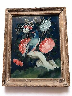 Antique Original Scarce 18Th C Beautiful Chinese Miniature Reverse Glasspainting