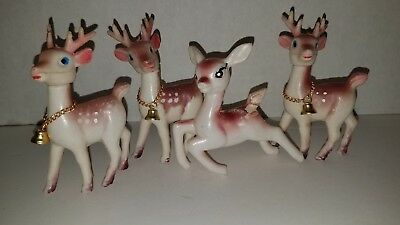 4 VTG Christmas Soft Plastic Deer Holiday decoration-HONG KONG, Poseable Heads