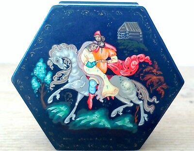 Antique russian wooden trinket/pill/snuff box, hand painted and signed.