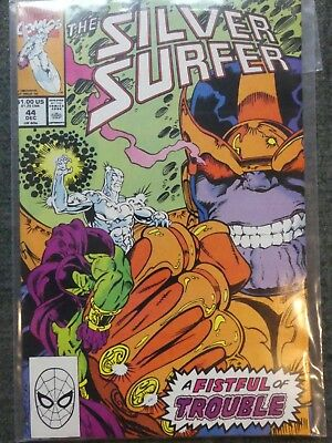 Silver Surfer 44 (1990): 1st Infinity Gauntlet - Thanos VFN+