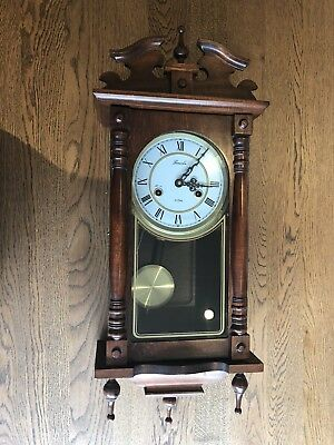 VINTAGE 31 Day Wall Clock Pendulum Mahogany Case With Key